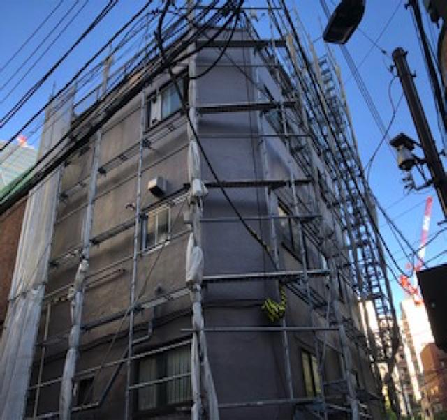 東京港区Nマンション外壁防水工事 足場解体前 検査